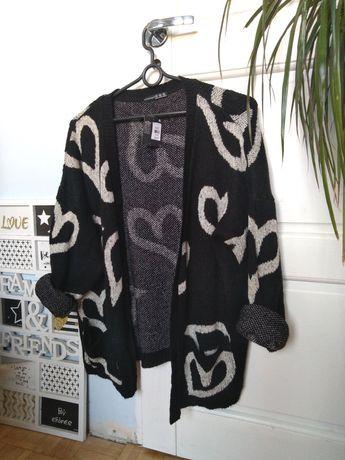 Atmosphere nowy sweter kardigan narzutka czarny M 38 oversize
