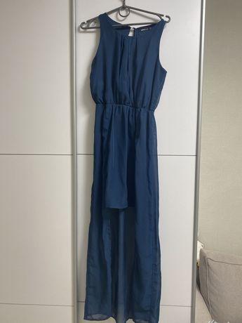 Платье длинное шифоновое бирюзовое
