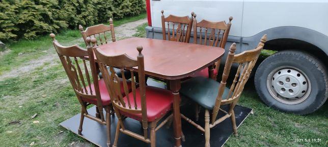 Krzesła do jadalni skóra obicie komplet do jadalni stół