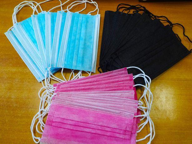 Черные Розовые Голубые Детские маски. 3 слоя, фиксатор. Качество!