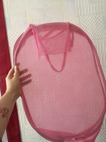 Корзина для игрушек (сетка) розовая