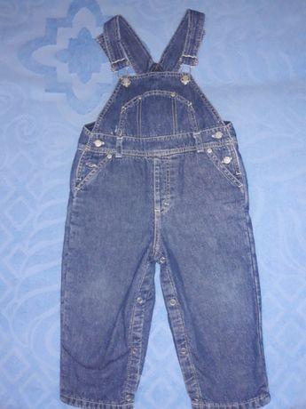 Продам утепленный джинсовый комбинезон р.86-92