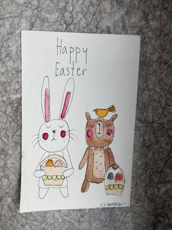 Kartka okolicznościowa wielkanocna królik miś pisanki handmade