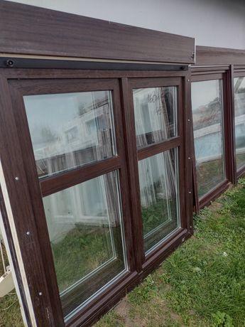 Sprzedam okno używane z Niemiec 160wys145szer z roletą zewn orzech