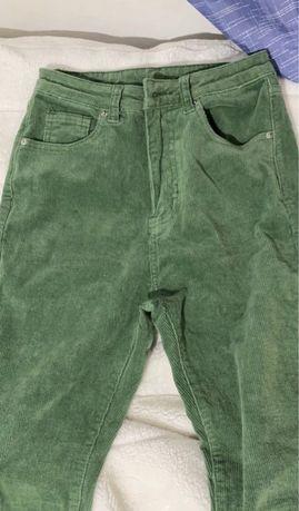 high waisted flare leg green corduroy pants