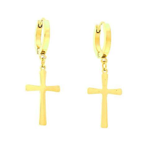 Kolczyki Krzyże złote stal chirurgiczna cudo :)
