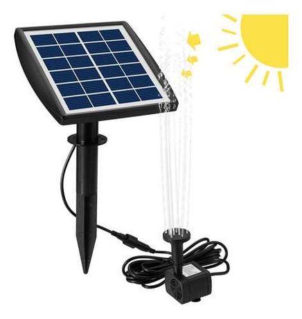 Fonte de água com painel solar