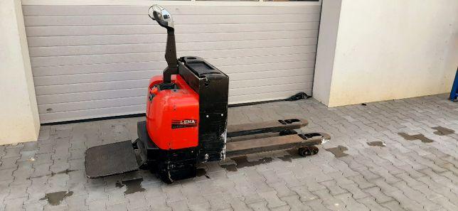 Wózek Paletowy Piesek Elektryczny Lema 1500kg Linde z podestem Rydwan