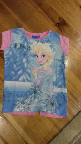Bluzka koszulka Disney Elsa brokat r.110/116 bdb