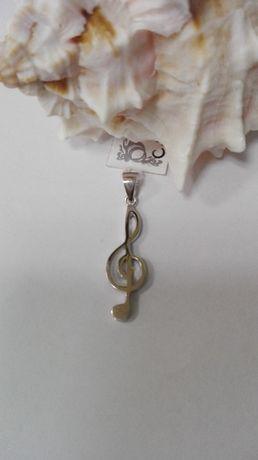 Srebrny wisiorek - klucz wiolinowy, próba 925