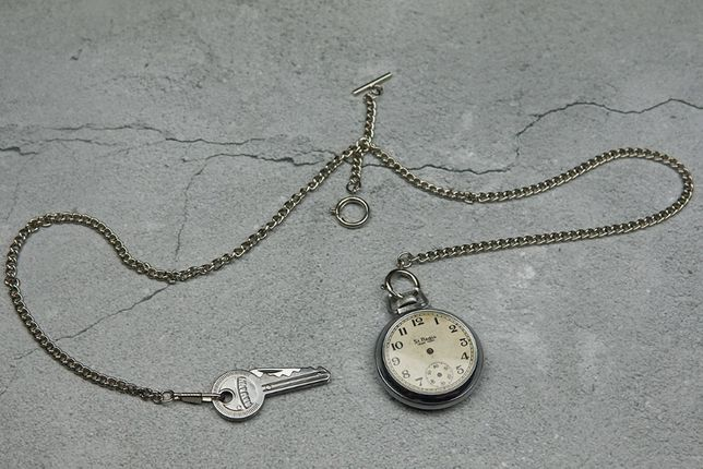 Zegarek kieszonkowy Ingraham kamizelka srebrny dewizka vintage albert