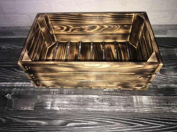 Skrzynka drewniana / dekoracyjna OPALANA 40x25x10