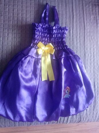 Sukienka bombka na 2-3latka kolor fioletowy