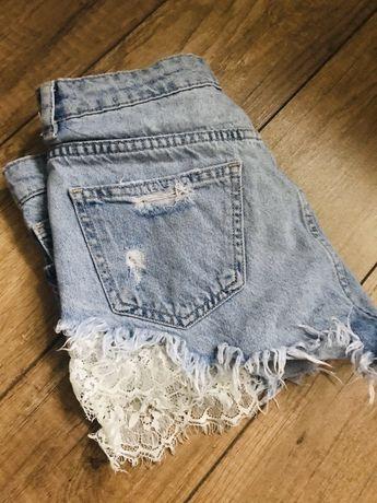 BERSHKA jeansowe koronkowe spodenki 34 szorty koronka jeans