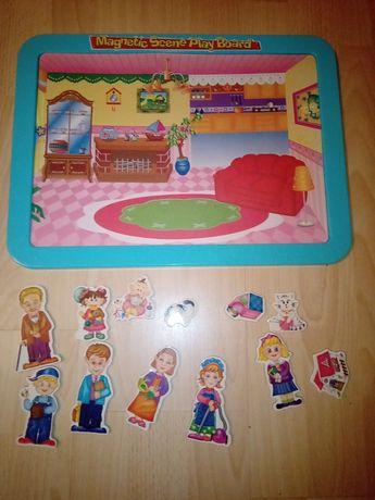 Magnetic scene play board, tablica magnetyczna dom