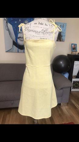 Sukienka w krateczkę cytrynowa L h&m
