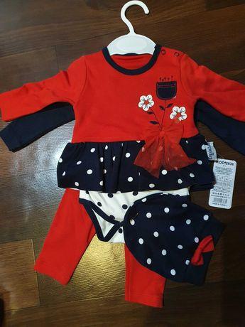 Новый Костюм для девочки 4-ка, платье-бодик, кофта, штаны, шапка