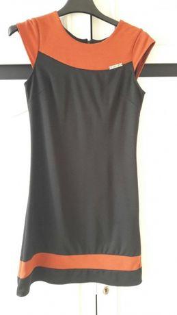 sukienka - pomarańczowo (ceglasto) - czarna r. 36