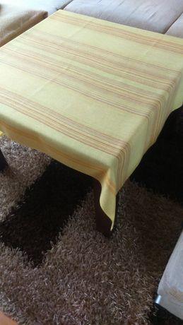 Żółty obrus,serweta 100x145 kolorowe paski na stół PRL