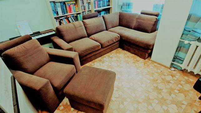 Narożnik, fotel i pufa LAVELLO  Bydgoskie Carabu komplet wypoczynkowy