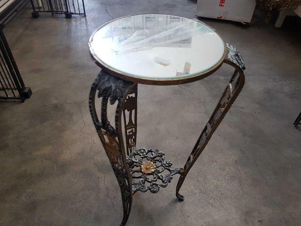 Mesa de apoio antiga em metal dourado e base em espelho