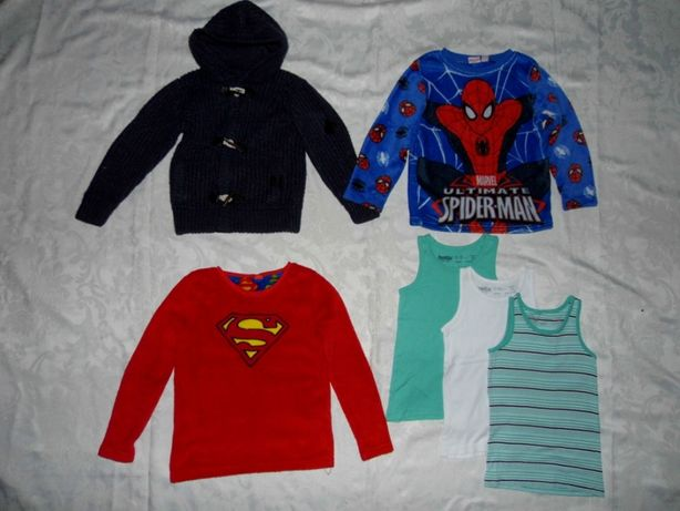 Zestaw 122 Spiderman Superman 6-7 Bluza Sweter Podkoszulki Kaptur