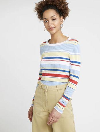 Bluzka sweter z długim rękawem paski kolorowy r34 36 Monki