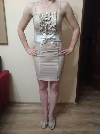 Oryginalna, beżowa sukienka, roz. S.