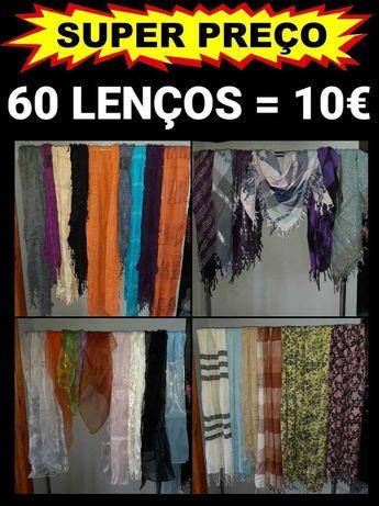 Lote de 60 lenços , novos revenda , cachecóis, echarpes, acessórios