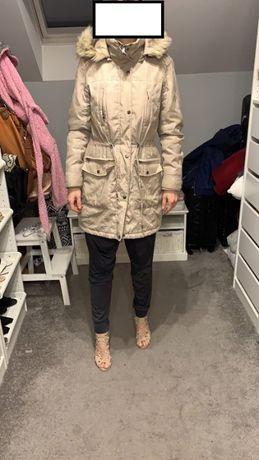 Zimowa brązowa kurtka zima elegancka kaptur puszek brązowa ciepła