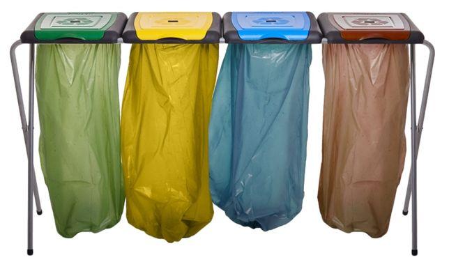 Stojak na Worki do Segregacji Odpadów Śmieci Kosz 4 komory 4x120L