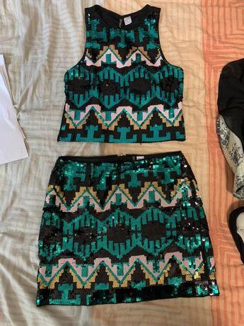 Spódniczka i bluzka z cekinami H&M rozmiar M/38