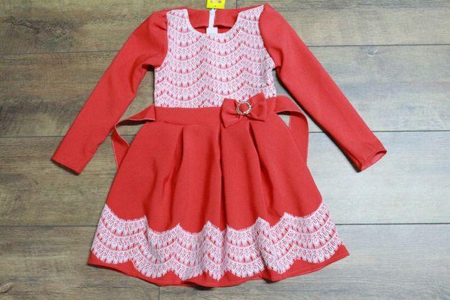 Нарядное красное платье с кружевом для Маленькой леди 3-4 года