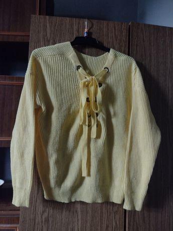 Oddam żöłty wiązany sweter VERO MODA