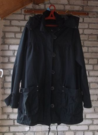 Куртка, полупальто, плащ ( 3в1) черный , женский 48 размера.