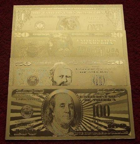 USA DOLLARS 24 KARAT GOLD Banknoty Zestaw - 4 sztuki UNC
