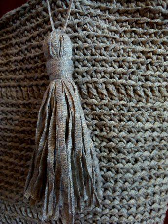 Сумка шоппер эко сумка пляжная лен плетеная женская летняя льняная