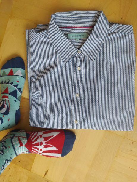 Koszula damska biała w niebieskie paski i czerwone kropki XXL 44 baweł