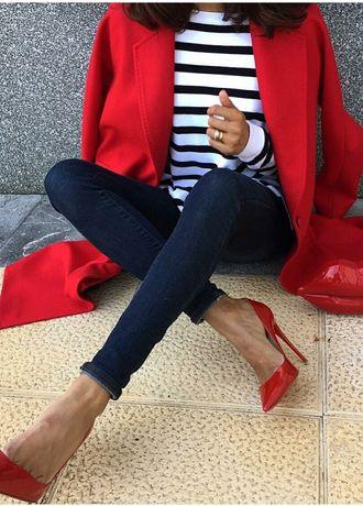 Zara czerwony wełniany płaszcz Zara ML
