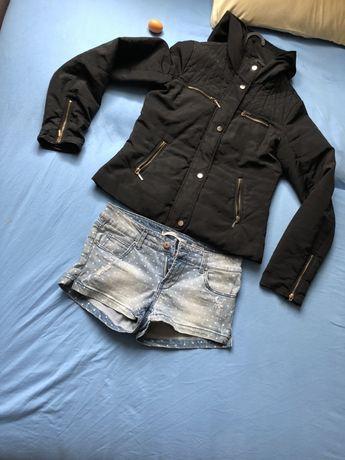 Komplet spodenki jeansowe jeans w groszki kurtka wiosenna czarna