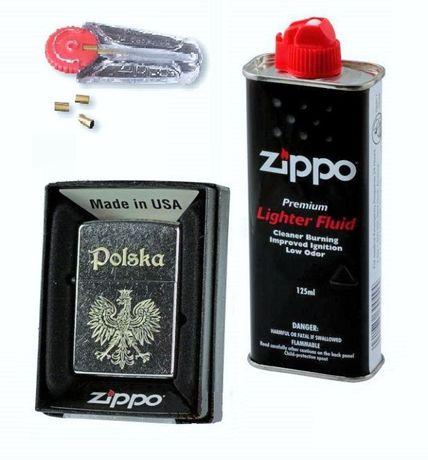 Zippo Street Chrom Orzeł Polska + Benzyna + Kamienie
