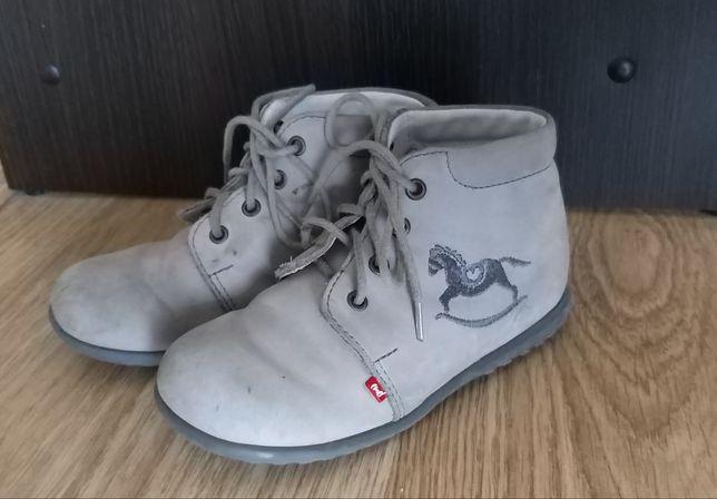 Trzewiki Emel 25 półbuty szare skórzane konik gratis pantofle na rzepy