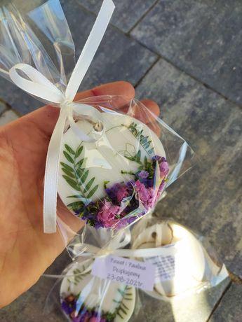 Pachnące tabliczki woskowe upominek podziękowanie dla gości weselnych