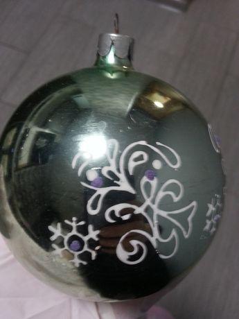 Елочная советская новогодняя игрушка Шар (шарик) СССР большой стекло