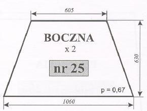 szyba boczna Ursus 1604, (1201) Typ 1204 Kunów, C-385 stary typ ACX170