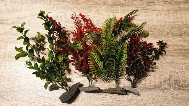 Sztuczne roślinki do akwarium - 4 sztuki