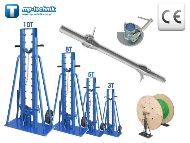 Podnośnik hydrauliczny do bębnów kablowych 5 tony - stojak, odwijak