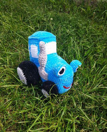 Трактор плюшевий синій синий ручна робота