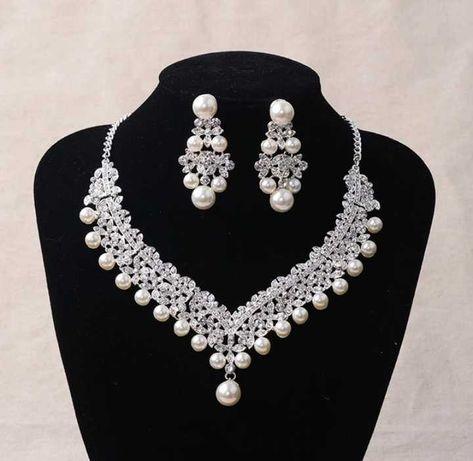 Piękny komplet biżuterii ślubnej z perełkami!