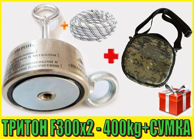СУПЕРАКЦИЯ: Поисковый неодимовый магнит 2f300 ТРИТОН +СУМКА+ТРОС
